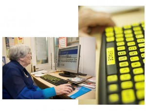 Two images: first image of a senior citizen reading a magnified computer screen. The second image is of a keyboard with larger charters and yellow keys..