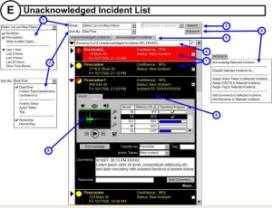ShotSpotter wireframes with interaction design annotations.