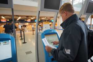 HELSINKI - SEP 03: self check-in kiosks on September 03, 2014 in